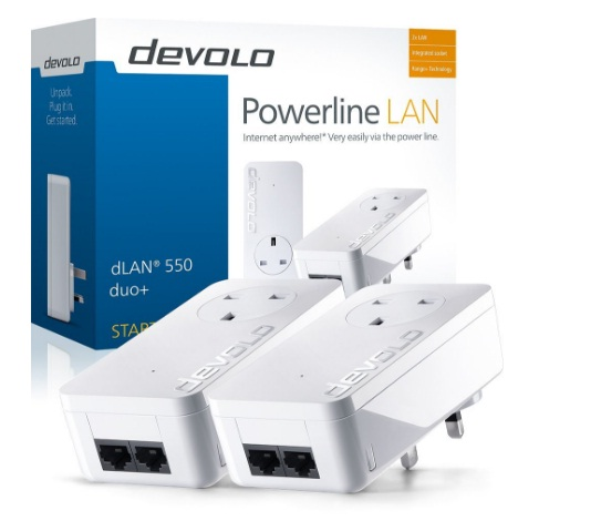 devolo dlan 550 duo powerline starter kit 2 lan ports pass through 500 mbps other ranges. Black Bedroom Furniture Sets. Home Design Ideas