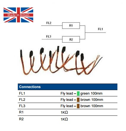 8-Pack of two pre-wired 1K resistors (DA314-1K-1K)