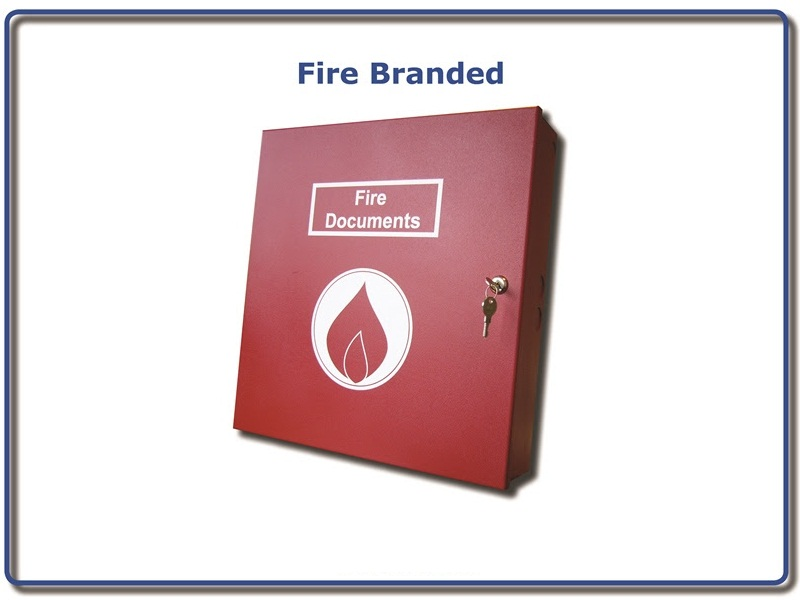 LA-DOC-BOX-R-FIRE, Red Lever Arch Lockable Document Box - Fire Branded