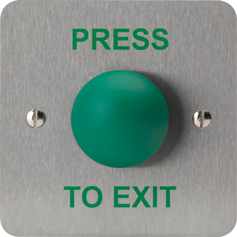 "3E0657-1PTE, HIGH IMPACT PUSH BUTTON 1 Gang SSS ""Press to Exit"""