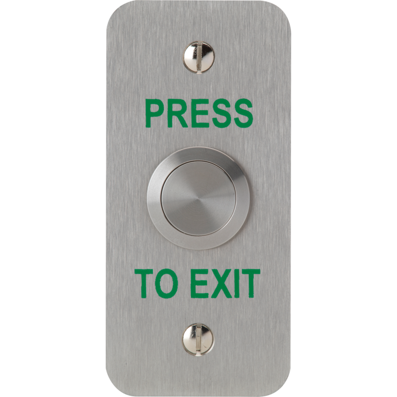 "3E0658N-1NS-PTE, VANDAL RESISTANT BUTTON 19mm mount Narrow Stile SSS ""Press to Exit"""