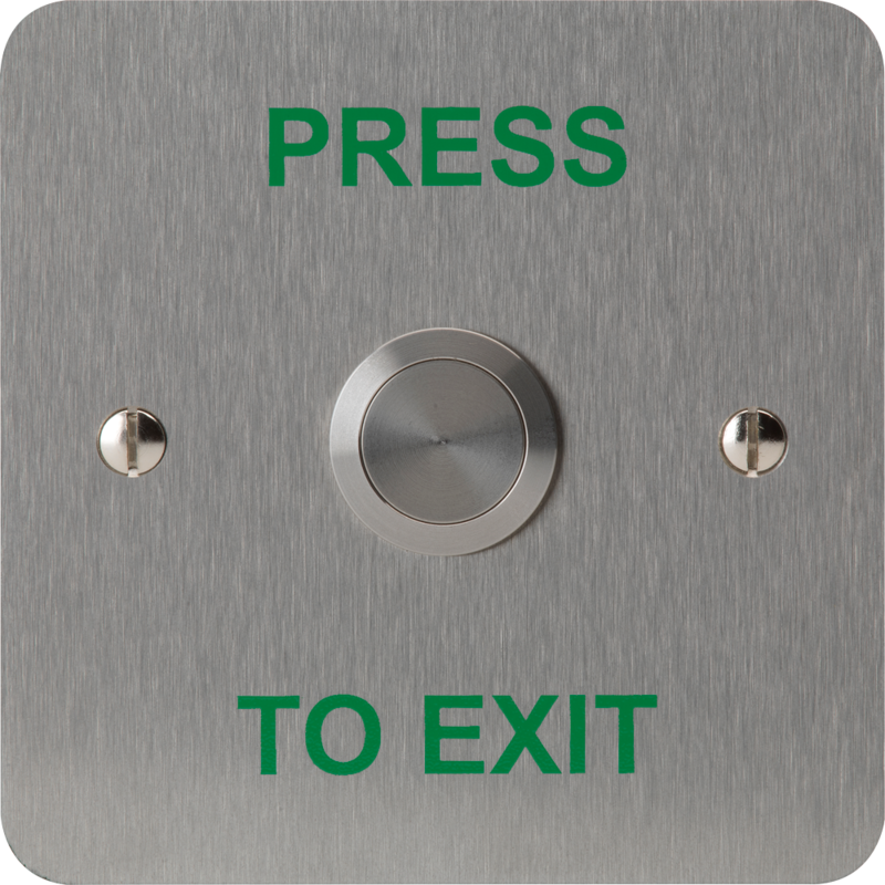"3E0658NDP-1PTE, VANDAL RESISTANT BUTTON 19mm mount 1 Gang SSS ""Press to Exit"""