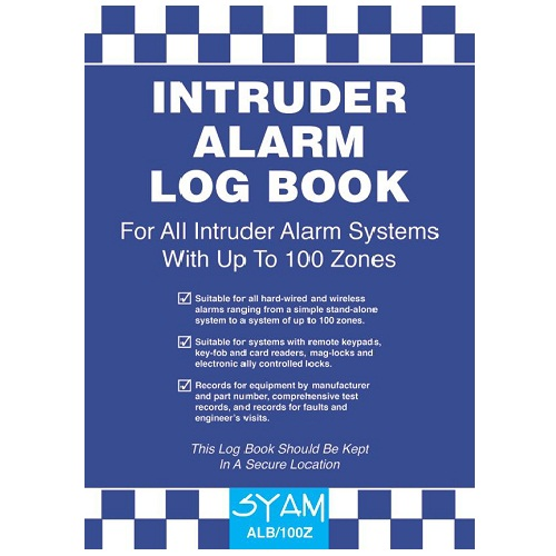 SYAM (ALB/100Z) Intruder Alarm Log Book, A4 Format
