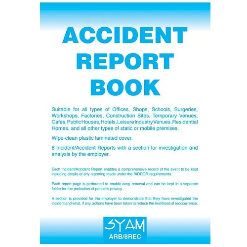 SYAM (ARB/8REC) Accident Report Book, A4 Format