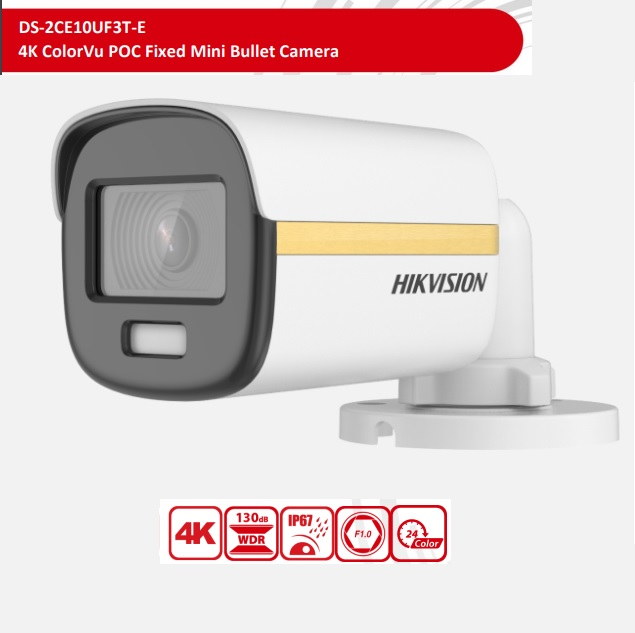 DS-2CE10UF3T-E(3.6mm), 4K ColorVu POC Fixed Mini Bullet Camera, 3.6mm Lens, 24H Color