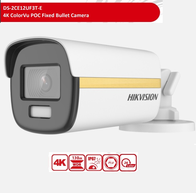 DS-2CE12UF3T-E(3.6mm), 4K ColorVu POC Fixed Bullet Camera, 3.6mm Lens, 24H Color