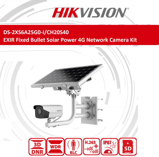 DS-2XS6A25G0-I/CH20S40(2.8mm), EXIR Fixed Bullet Solar Power 4G Network Camera Kit 2.8MM Lens