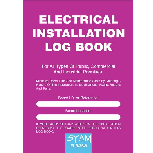 SYAM (ELB/36W) Electrical Installation Log Book, A4 Format
