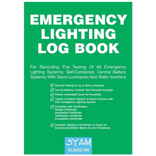 SYAM (ELB/SC160) Emergency Lighting Log Book, A4 Format