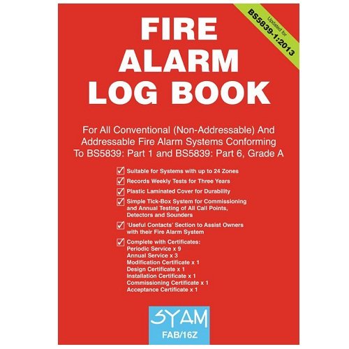 SYAM (FAB/16Z) Fire Alarm Log Book, A4 Format