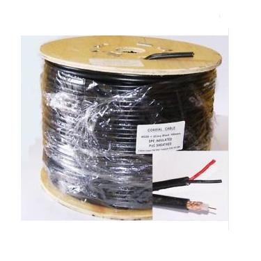 RG59  + 2 CORE BLACK PVC SHOTGUN 100M Roll supplied on Wooden reel