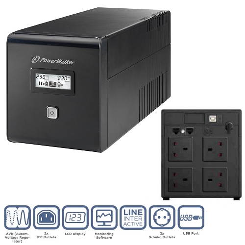 PowerWalker VI 1000VA LCD/UK UPS (600W)