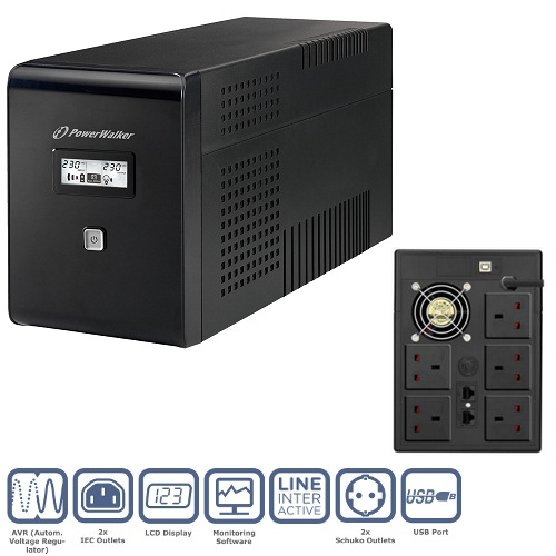 PowerWalker VI 1500VA LCD/UK UPS (900W)