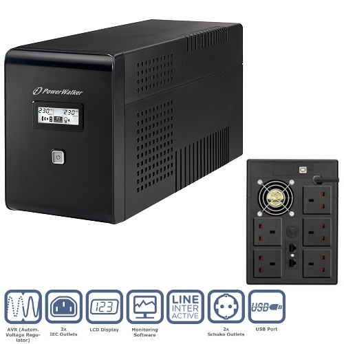 PowerWalker VI 2000VA LCD/UK UPS (1200W)