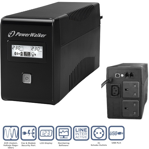 PowerWalker VI 650VA LCD/UK UPS (360W)