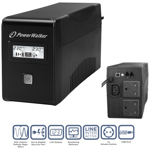 PowerWalker VI 850VA LCD/UK UPS (480W)